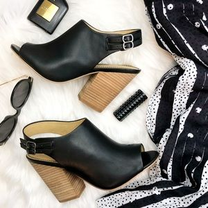 Splendid Black Leather Slingback Open Toe Booties